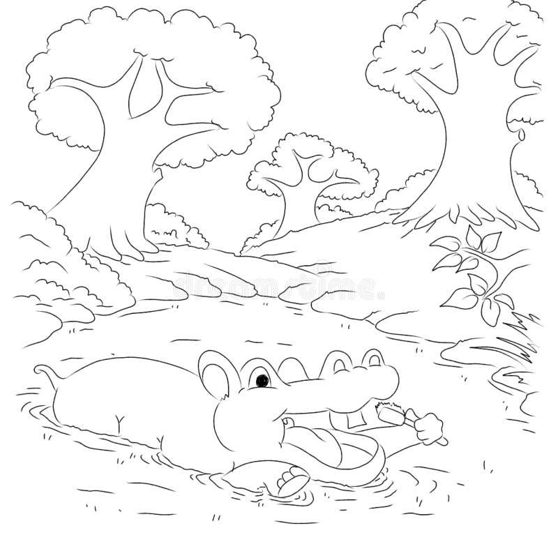 De pagina van de het beeldverhaalkleuring van het Hippotamusoverzicht royalty-vrije illustratie