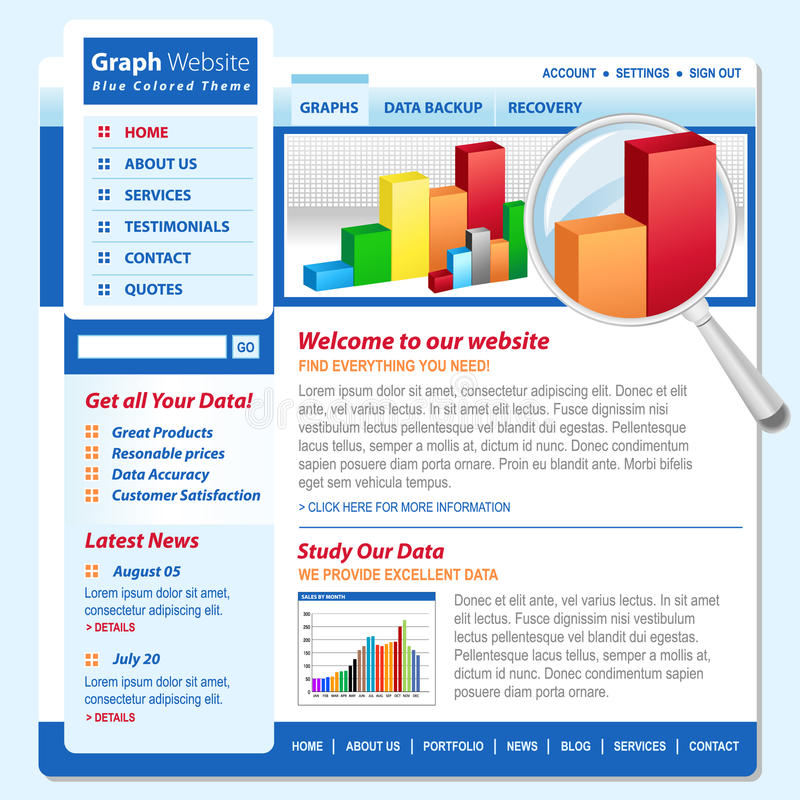 De Pagina van Internet van de Technologie van het Web van de Grafiek van de grafiek stock illustratie