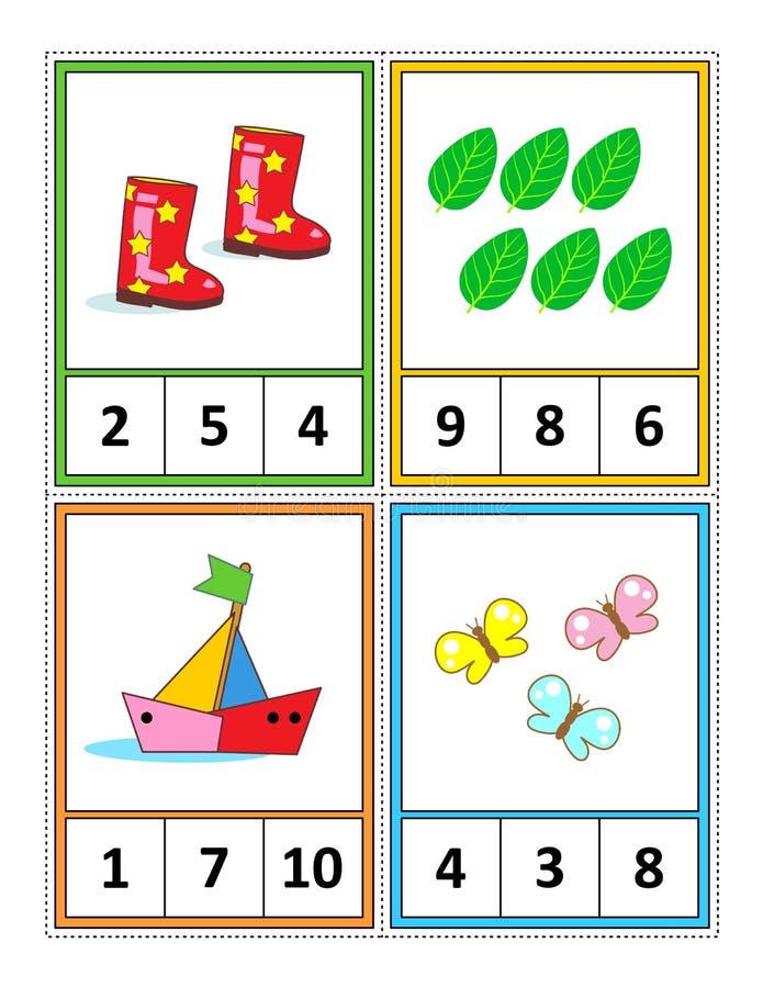 De pagina van de wiskundeactiviteit voor jonge geitjes - leer en praktizeer tellend - omcirkelt het correcte antwoord stock illustratie