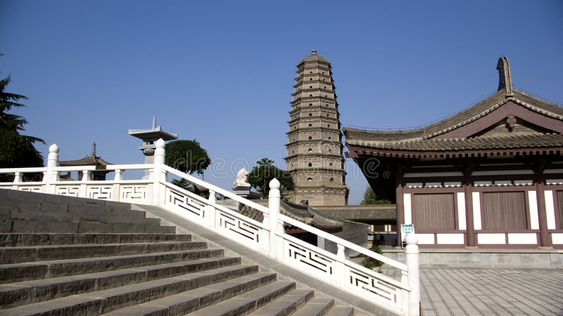 De Pagode van de Tempel van Famen in Xian China royalty-vrije stock fotografie