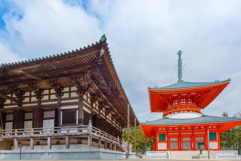 De Pagode van Konpondaito bij de Tempel van Danjo Garan op Koyasan-gebied in Wak stock fotografie