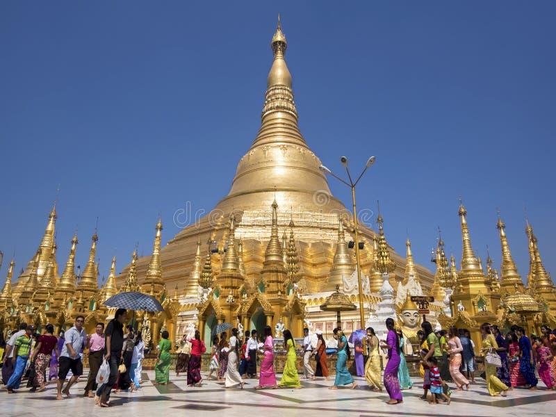 De pagode van Shwedagon in Yangon, Myanmar (Birma) stock foto