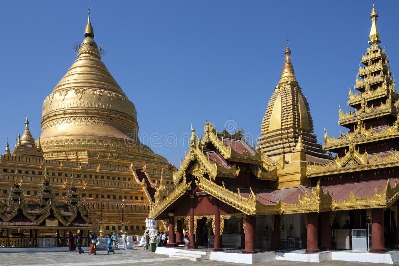 De Pagode van Shwezigon - Bagan - Myanmar stock fotografie
