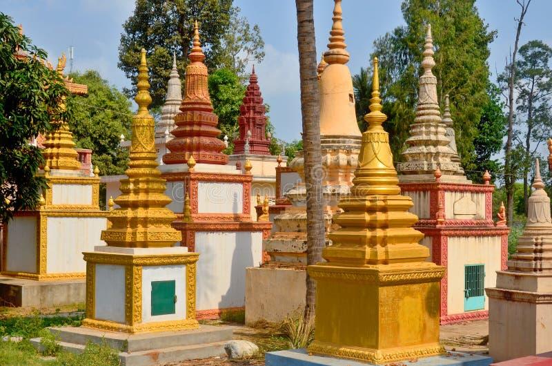 De Pagodentuin van Preahprom Rath stock foto