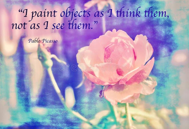 De Painterlyfoto van nam met de voorwerpen van de Citaat` I verf aangezien toe ik hen denk, niet aangezien ik hen zie ` Pablo Pic stock fotografie