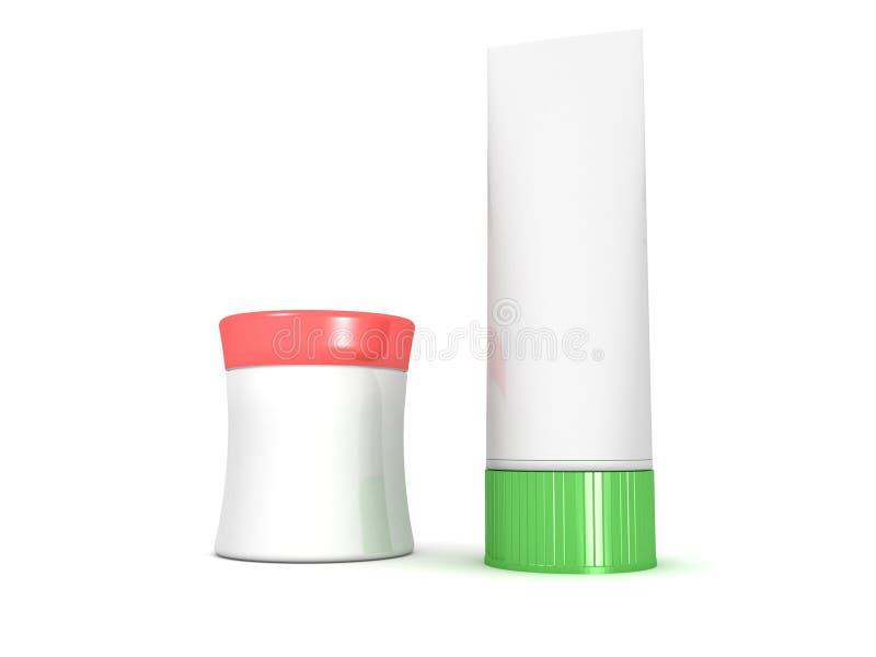 De pakken en de containers van schoonheidsmiddelen: buis en doos vector illustratie