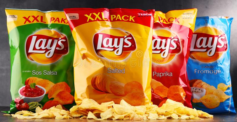 De pakketten van legt chips stock foto