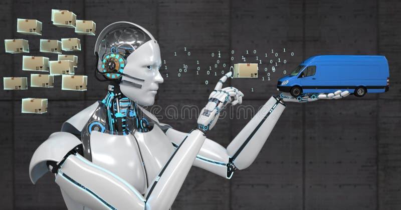 De Pakketten van de de Robotvervoerder van het logistiekbeheer royalty-vrije illustratie