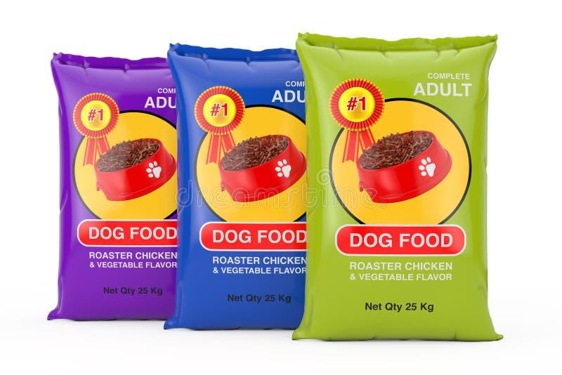 De Pakkettenontwerp van de hondevoerzak het 3d teruggeven royalty-vrije stock afbeelding
