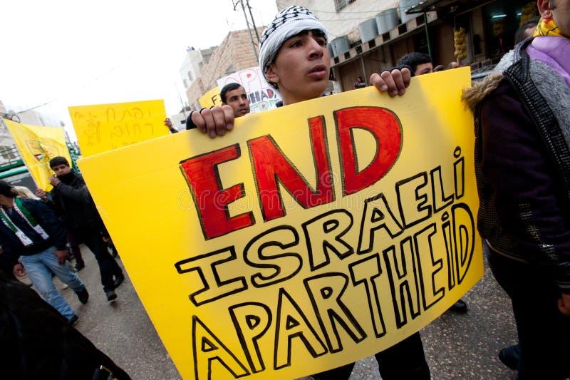 De Palestijnen protesteren Israëlisch beroep in Hebron royalty-vrije stock foto's