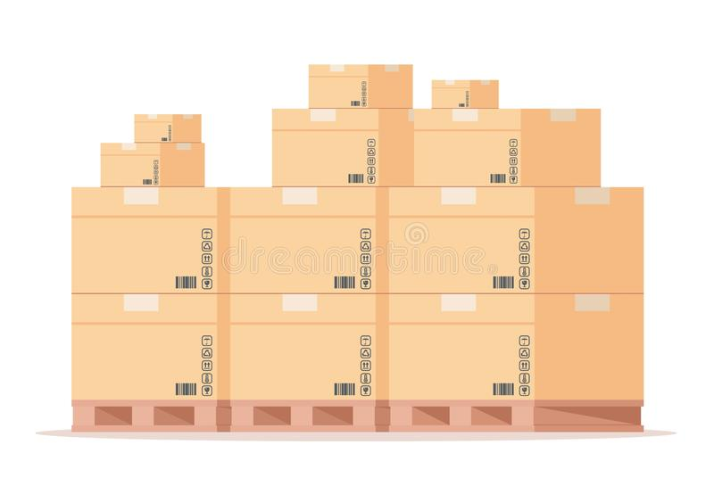 De pallet van de kartondoos Vlakke de pakkettenstapel van het pakhuiskarton, vooraanzicht verschepende pakketten bij de opslag Ge stock illustratie