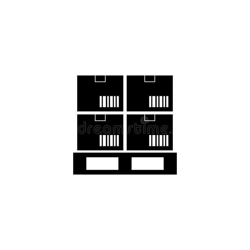De Pallet Vlak Vectorpictogram van ladingsdozen vector illustratie