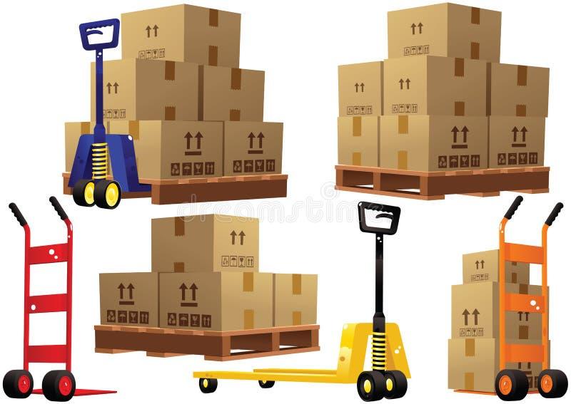 De pallets en de dozen van handvrachtwagens stock illustratie