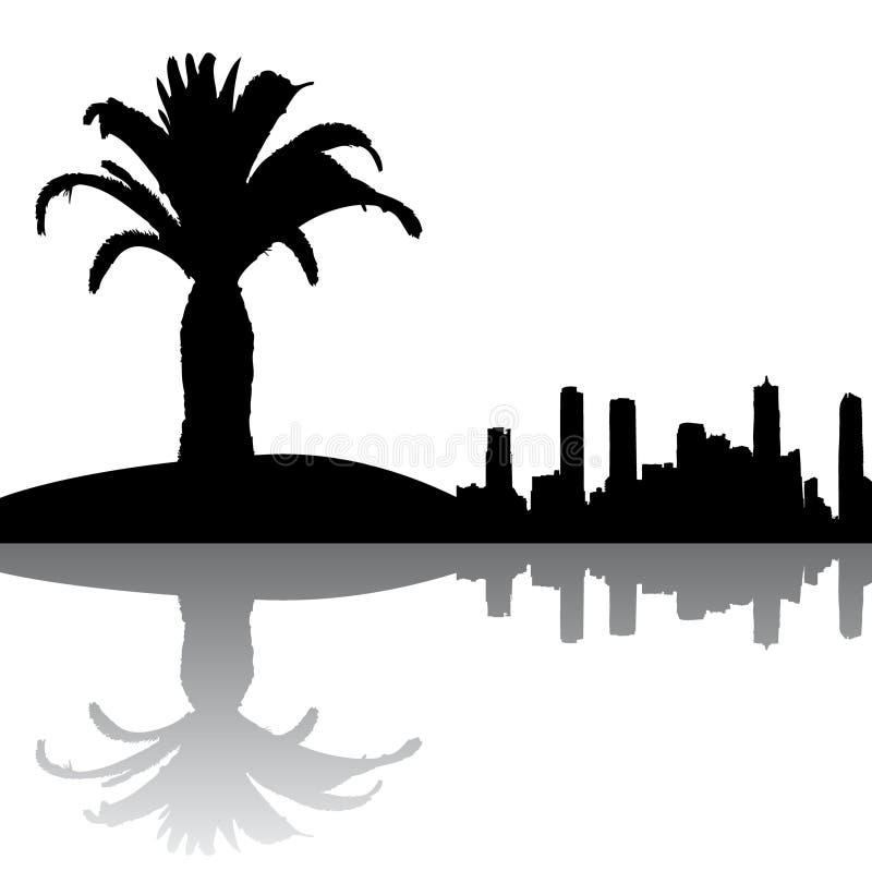 De palm en de gebouwen van het silhouet royalty-vrije illustratie