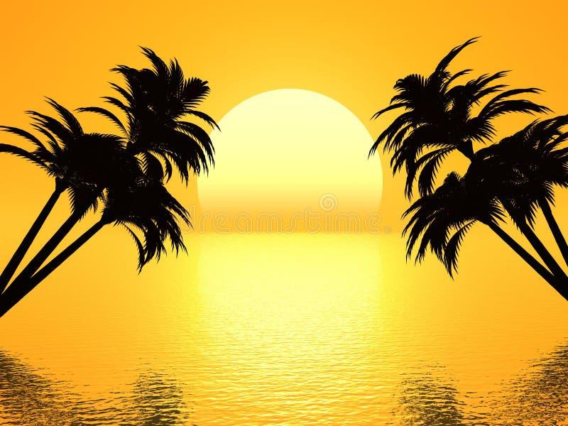 De palm van de zonsondergang stock illustratie