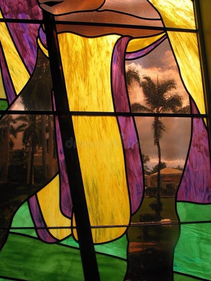 De Palm Van Het Gebrandschilderd Glas Royalty-vrije Stock Foto