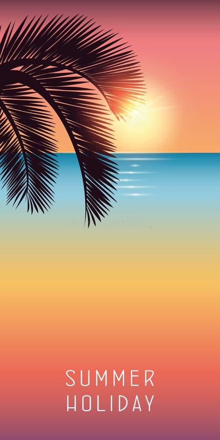 De palmblad van de de zomervakantie op kleurrijk strand met zonneschijn vector illustratie