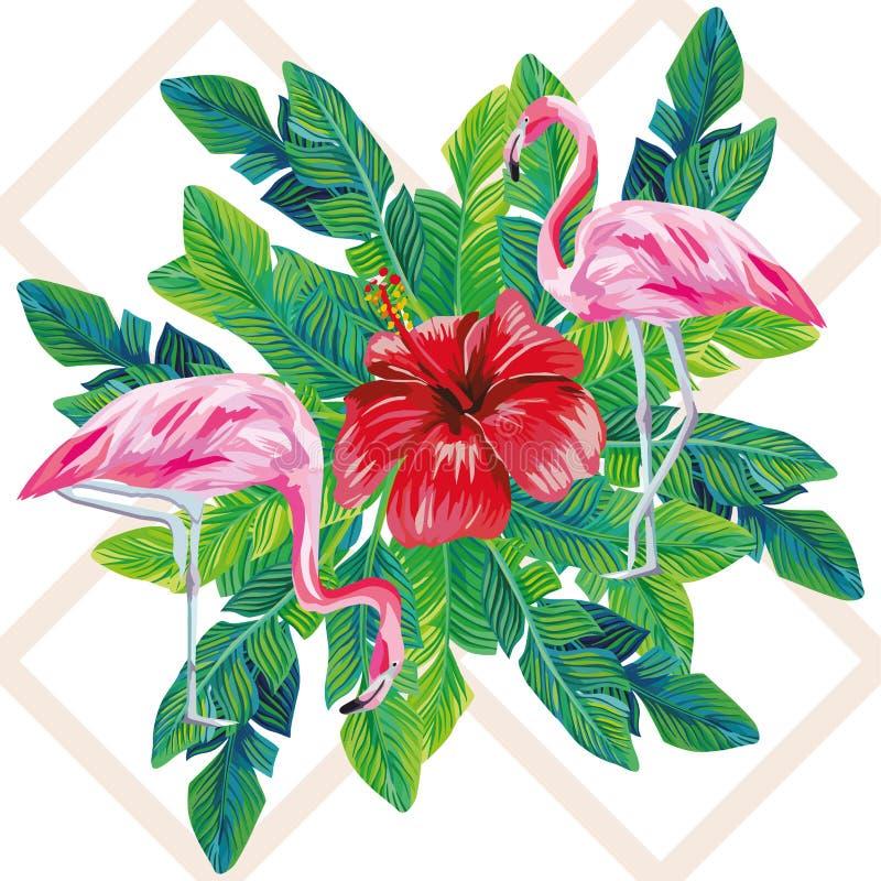 De palmbladendruk van de flamingohibiscus royalty-vrije illustratie