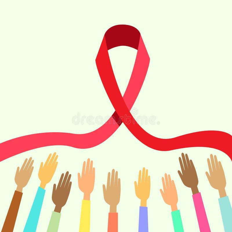 De palmen houden Rode de Dagvoorlichting van AIDS van de Lintwereld vector illustratie