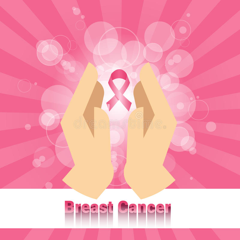 De palmen houden Roze Kankervoorlichting van de Lintborst stock illustratie