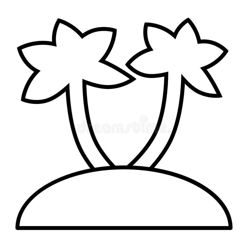De palmen op eiland verdunnen lijnpictogram Tropische strand vectordieillustratie op wit wordt geïsoleerd De exotische stijl van  stock illustratie