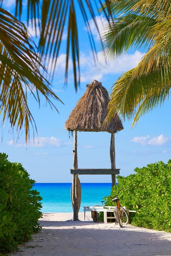 De palmhutten Mexico van het Holboxeiland royalty-vrije stock afbeelding