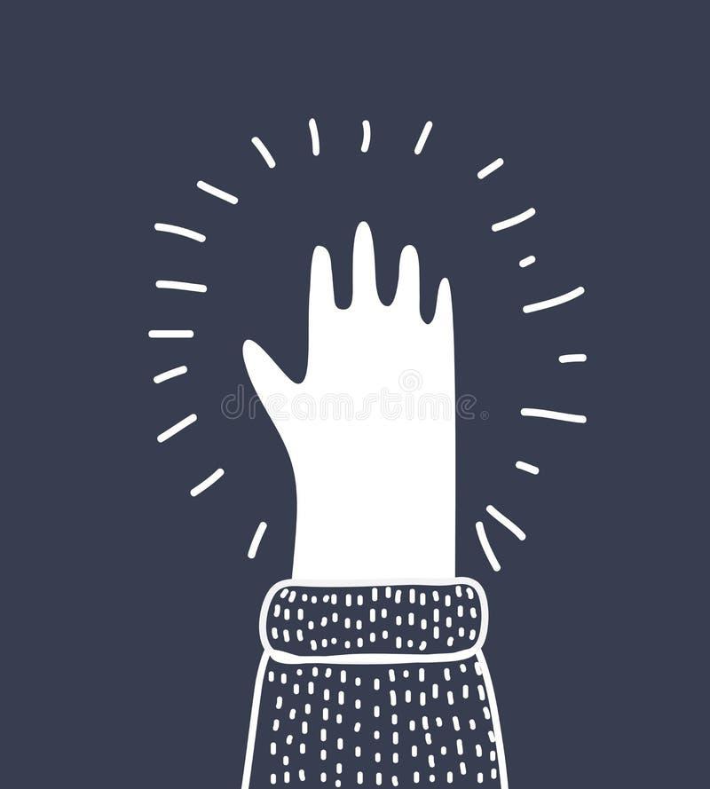 De palmsilhouet van de hand, vector stock illustratie