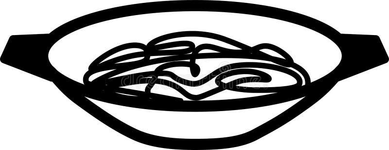 De pan en de noedels van de pictogramwok royalty-vrije stock afbeeldingen