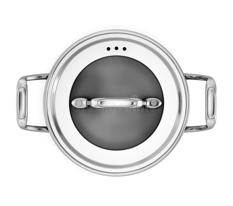De pan voor het koken van op een witte achtergrond de bovenkant bekijkt royalty-vrije illustratie
