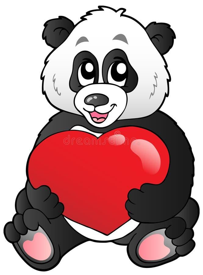 De panda die van het beeldverhaal rood hart houdt royalty-vrije illustratie