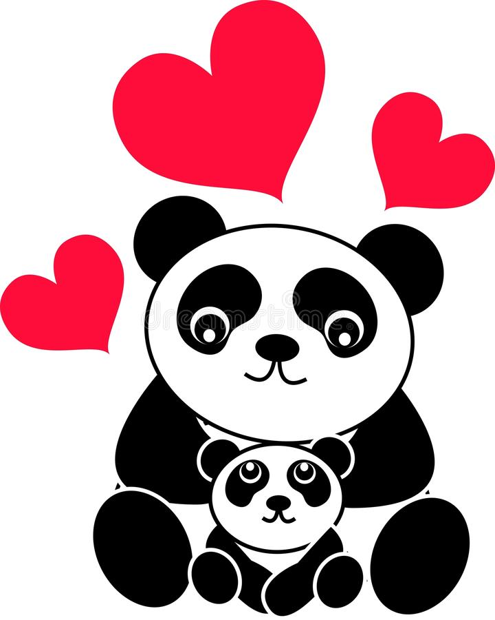 de panda draagt royalty-vrije illustratie
