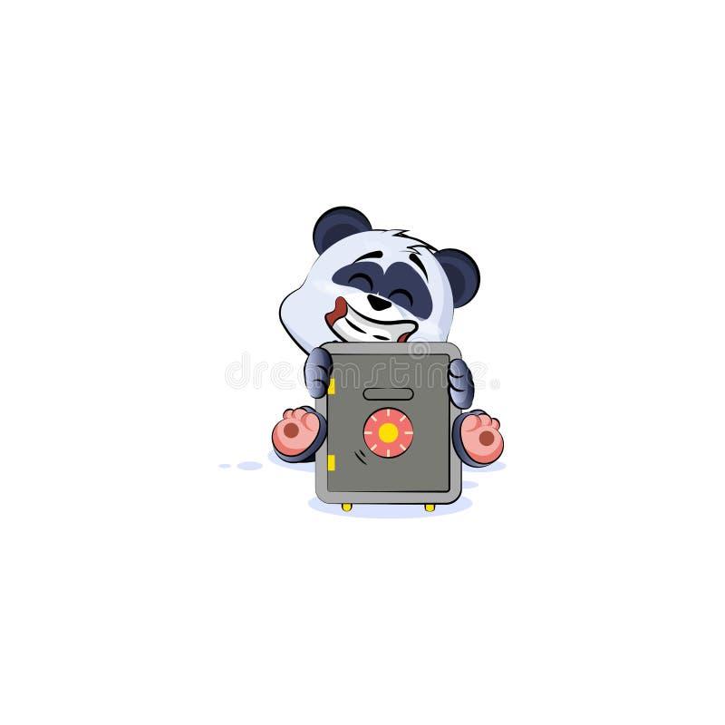 De panda draagt de brandkast van de sticker emoticon omhelzing met geld vector illustratie