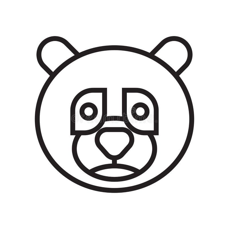 De panda draagt geïsoleerd pictogram vectorteken en symbool op witte backgro vector illustratie