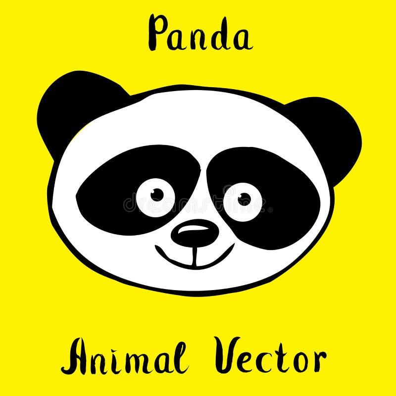 De panda draagt getrokken hand stock illustratie