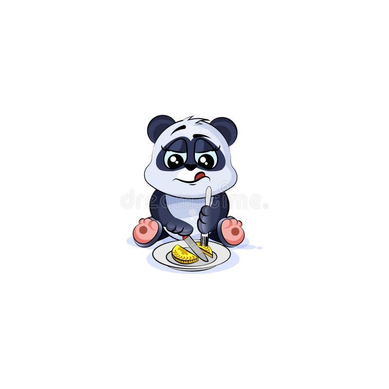 De panda draagt het geld van het bedrijfsaandelenmuntstuk stock illustratie