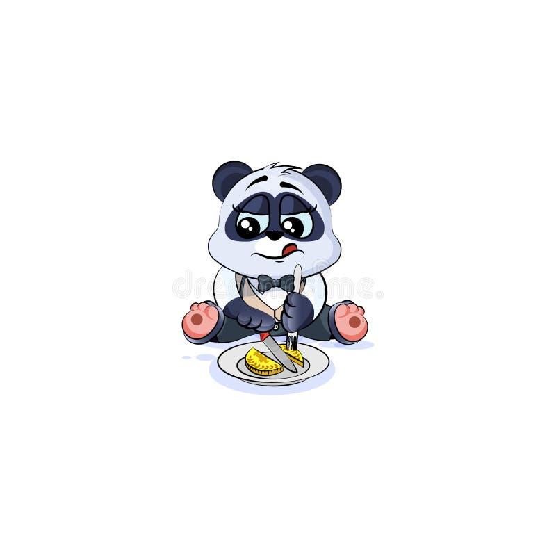 De panda draagt in het muntstukgeld van pakaandelen royalty-vrije illustratie