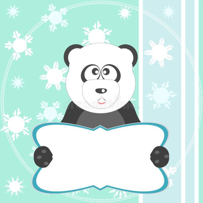 De panda draagt op zachte groene groetkaart.   vector illustratie