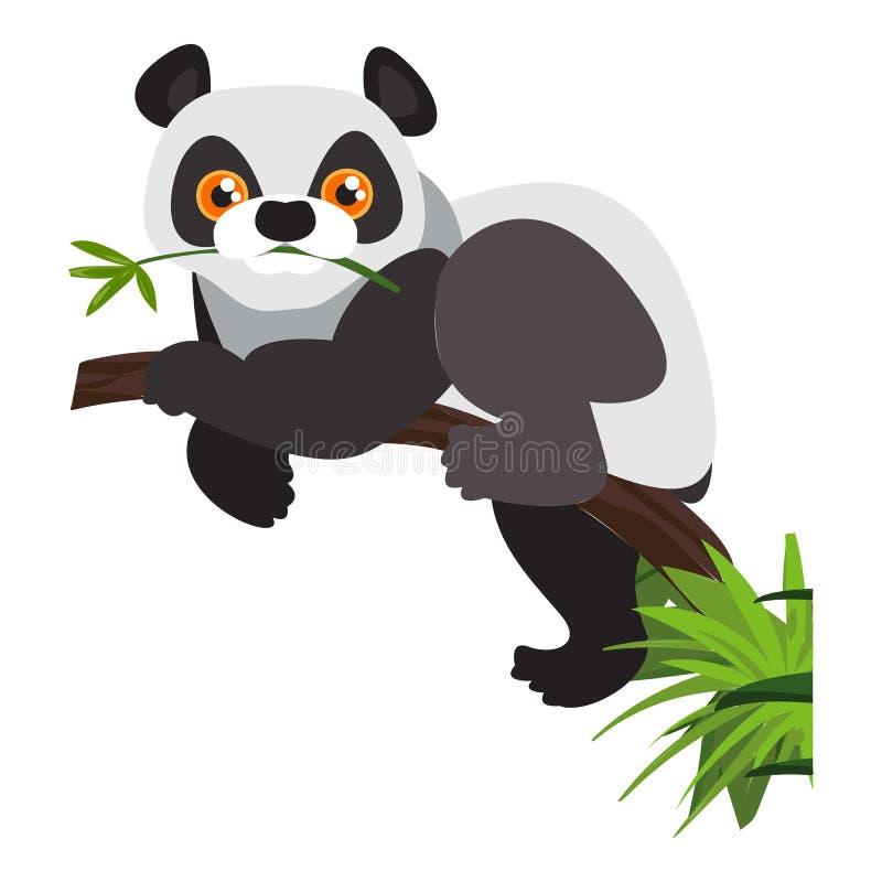 De panda draagt pictogram, beeldverhaalstijl stock illustratie