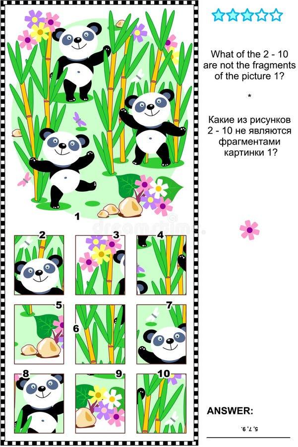 De panda draagt visuele riddle - geen wat behoort? stock illustratie
