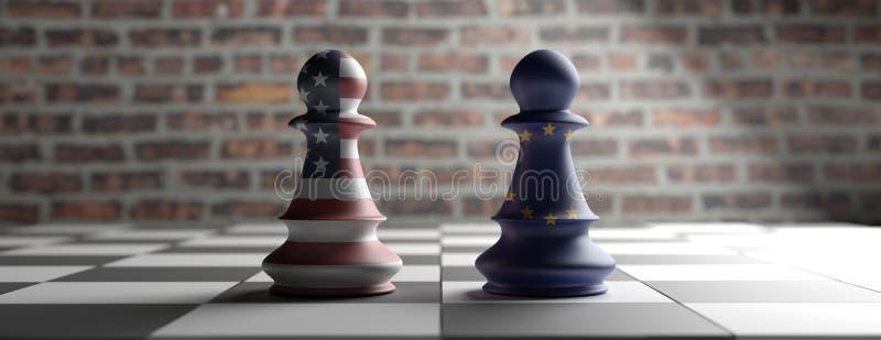 De panden van het de vlaggenschaak van de V.S. en de EU-op een schaakbord 3D Illustratie vector illustratie