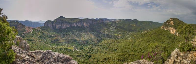 De panoramatic mening van Sardinige Ulassai stock fotografie