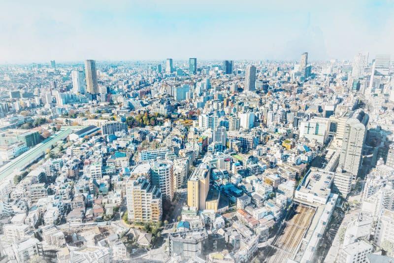 De panoramische luchtmening van de stadshorizon in de mengelingsschets van Japan en het effect van de waterverfillustratie royalty-vrije stock foto's