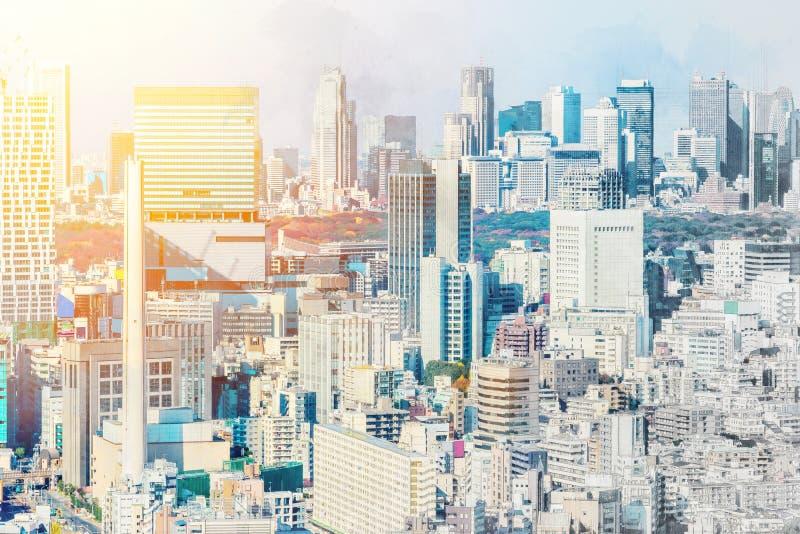 De panoramische luchtmening van de stadshorizon in de mengelingsschets van Japan en het effect van de waterverfillustratie royalty-vrije stock afbeeldingen