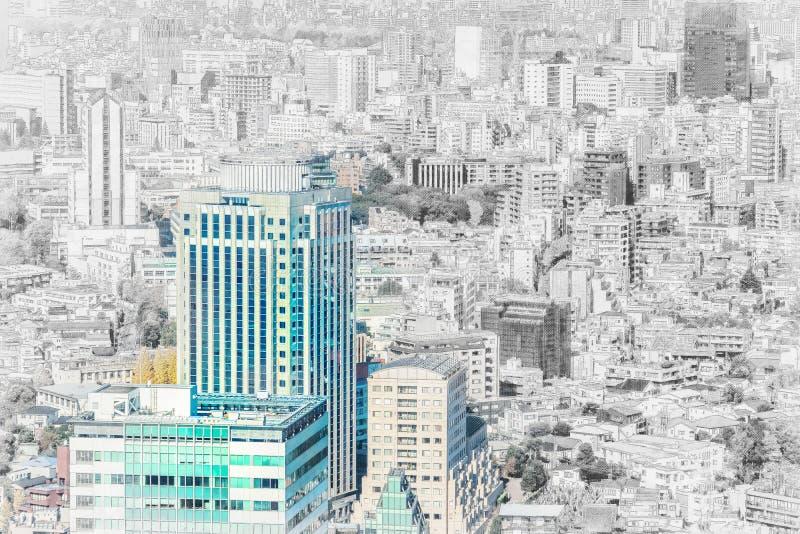 De panoramische luchtmening van de stadshorizon in de mengelingsschets van Japan en het effect van de waterverfillustratie royalty-vrije stock fotografie