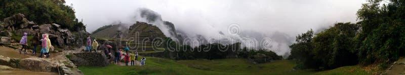 De panoramische mist van Machupicchu royalty-vrije stock fotografie