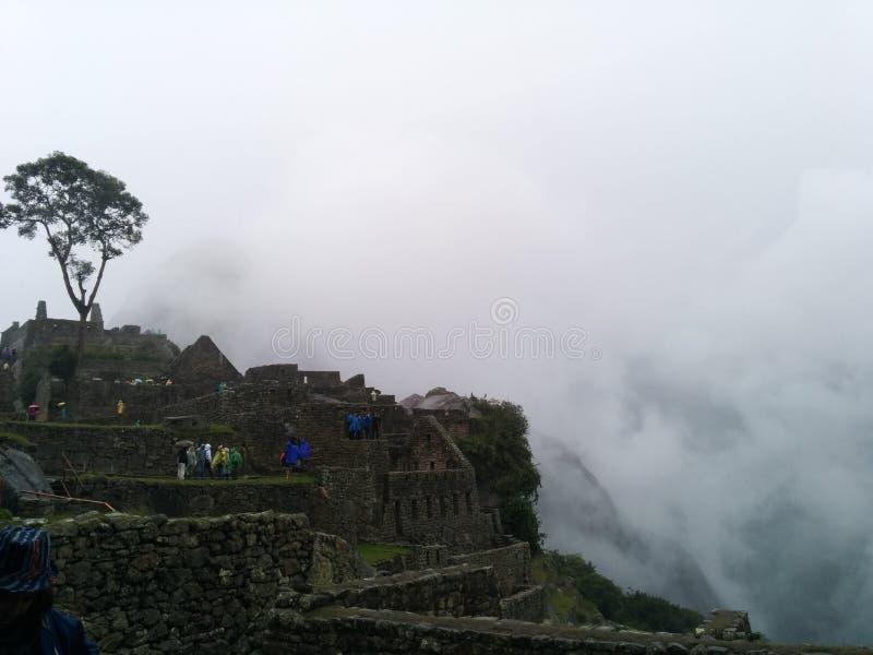 De panoramische mist van Machupicchu royalty-vrije stock foto