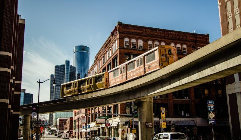 De Panoramische de Stadshorizon van de binnenstad van Detroit Michigan royalty-vrije stock foto's