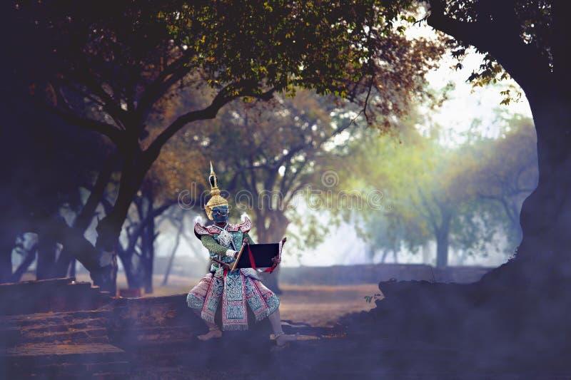 De pantomime Khon, Thaise traditionele dans bewaart tradities, stock foto's