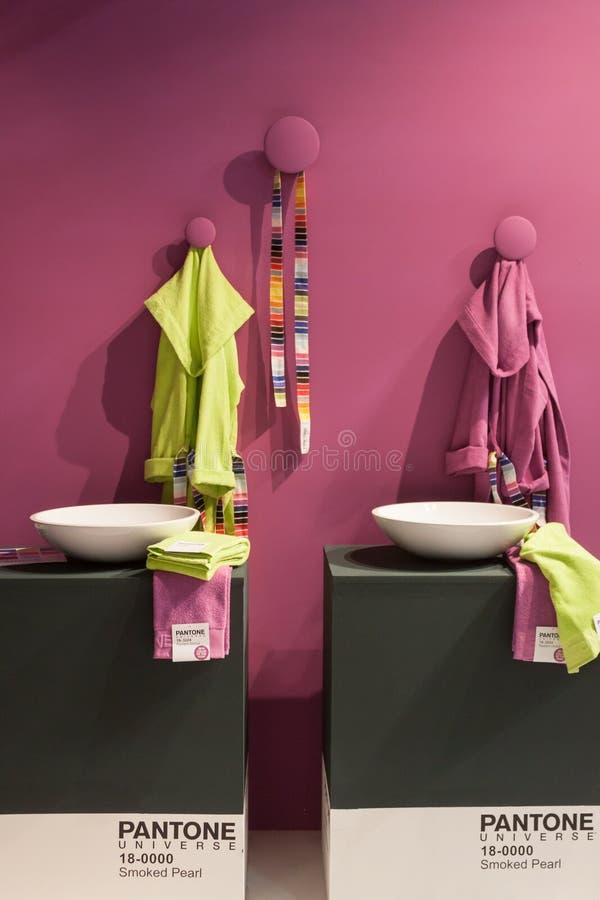 De Pantonebadjas op vertoning bij HOMI, internationaal huis toont in Milaan, Italië royalty-vrije stock foto
