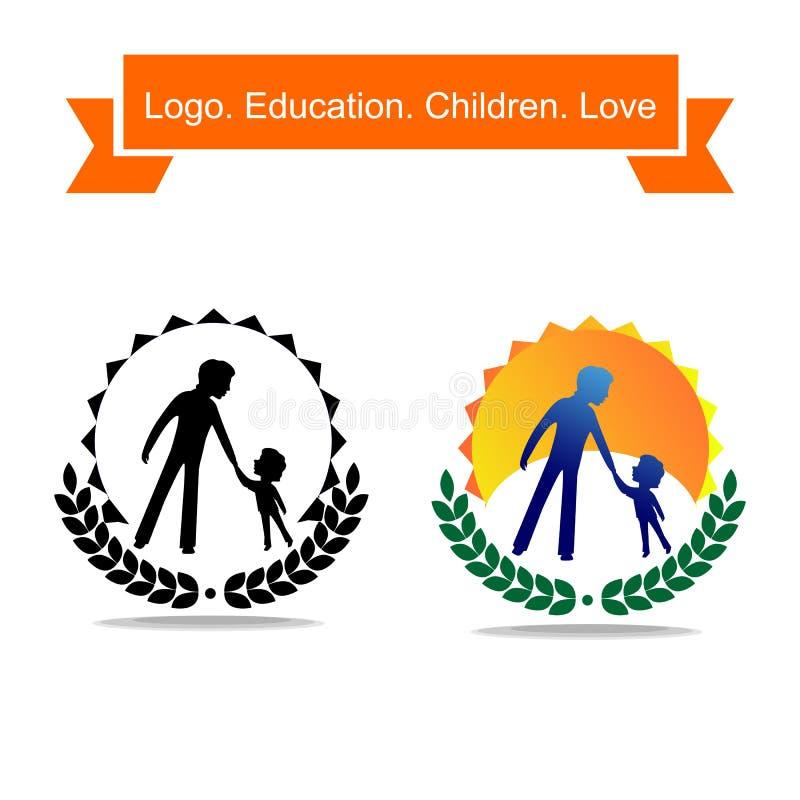 De papa brengt een kind groot logotype Een eenvoudig embleem over onderwijs en kinderjaren stock illustratie